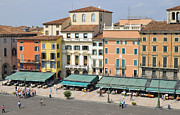Piazza Bra Prints - Beautiful houses on Piazza Bra Verona Italy Print by Matthias Hauser