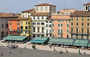 Beautiful Houses On Piazza Bra Verona Italy Print by Matthias Hauser