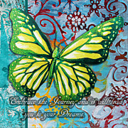 Motivate Prints - Beautiful Inspirational Butterfly Flowers Decorative Art Design With Words EMBRACE THE JOURNEY Print by Megan Duncanson