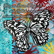 Hope Paintings - Beautiful Inspirational Butterfly Flowers Decorative Art Design With Words GIVE YOUR DREAM WINGS by Megan Duncanson
