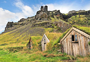 Abandoned Houses Prints - Beautiful landscape with traditional turf houses in Iceland Print by JR Photography