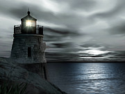 Lighthouse At Sunset Prints - Beautiful Light In The Night Print by Lourry Legarde