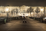 Louvre Museum Framed Prints - Beautiful Louvre Museum Viewed from The Pont des Arts at Night Framed Print by Mark E Tisdale