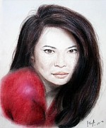 Closeup Pastels Prints - Beautiful Lucy Liu Print by Jim Fitzpatrick
