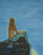 Picture Of Mermaid Posters - Beautiful Magical Mermaid Poster by Leslie Allen