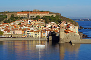 Village By The Sea Prints - Beautiful Mediterranean village of Collioure Print by Vilainecrevette