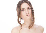 Hair Jewelry Metal Prints - Beautiful model with earrings Metal Print by Anastasia Yadovina