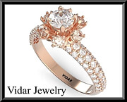 Romantic Rose Jewelry - Beautiful Moissanite And Diamond 14k Rose Gold Engagement Ring by Roi Avidar