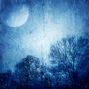 Autumn Landscape Pyrography Prints - Beautiful moonlight photos Print by Boon Mee