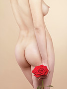 Holding Flower Framed Prints - Beautiful Naked Woman with a Rose Framed Print by Oleksiy Maksymenko