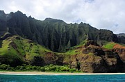 John Greaves Prints - Beautiful Napali Coast  Print by John  Greaves