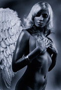 Romanticism Posters - Beautiful nude woman with angel wings Black and white Poster by Oleksiy Maksymenko