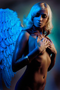 Romanticism Posters - Beautiful nude woman with angel wings Poster by Oleksiy Maksymenko