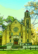Photomanipulation Photo Prints - Beautiful old Church  Digital paint Print by Debbie Portwood