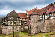 Historic Villages Prints - Beautiful old medieval town with city wall and half-timbered houses Print by Matthias Hauser