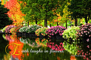 Pond In Park Prints - Beautiful Park with Autumn Trees and Colorful Flowers Print by Beverly Claire Kaiya