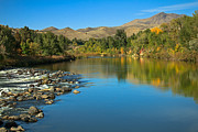 Bank; Clouds; Hills  Prints - Beautiful Payette River Print by Robert Bales
