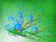 Shiny Mixed Media - Beautiful Peacock Abstract 2 by Andee Photography