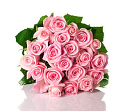 Online Flower Shop Posters - Beautiful pink rose bouquet Poster by Boon Mee