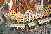 Town Square Prints - Beautiful prague from above - lovely old houses Print by Matthias Hauser
