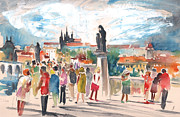 Townscapes Drawings - Beautiful Prague by Miki De Goodaboom