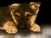 Puppy Digital Art Metal Prints - Beautiful puppy Metal Print by Veronica Minozzi