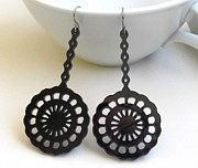 Laser Cut Jewelry - Beautiful Romantic Lace Flowers Earrings by Rony Bank