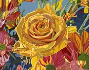 Wildlife Landscape Paintings - Beautiful Rose by Darrell Hopkins