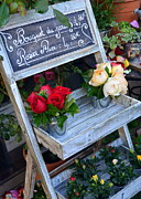 Charming Cottage Posters - Beautiful Roses for Sale Poster by Carla Parris