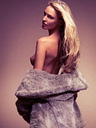 Gold Jacket Posters - Beautiful sexy woman in fur coat over naked body Poster by Oleksiy Maksymenko