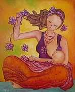 Breastfeeding Paintings - Beautiful Sitting Mama Breastfeeding by Gioia Albano
