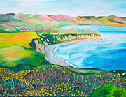 Canyons Paintings - Beautiful Southern California Coast - Malibu Canyon And Beach Original is Acrylic Painting on canvas by Louisa Bryant