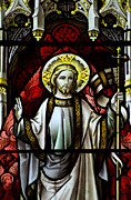 Saint Hope Framed Prints - Beautiful stained glass window detail in 15th Century Saxon chur Framed Print by Matthew Gibson