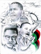 Barrack Obama Drawings - Beautiful Struggle by Eddie Egesi