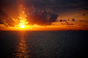 Miami River Photos - Beautiful Sunset with Miami Florida on the Horizon by JT PhotoDesign