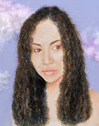 Hair Art - Beautiful Thai  Artist and Model Dao II Version II by Jim Fitzpatrick