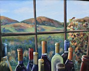Wine Bottle Paintings - Beautiful View by Donna Tuten