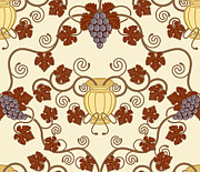 Tiled Mixed Media Prints - Beautiful Vine Leaf And Urn Seamless Tile Design  Print by Christos Georghiou