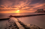 Seawall Prints - Beautiful Waikiki Sunset Print by Tin Lung Chao