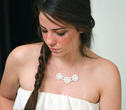 Perspex Necklace Jewelry - Beautiful White Bouquet Necklace by Rony Bank