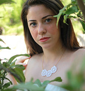 Nature Inspired Jewelry - Beautiful White Bouquet Pendant Necklace by Rony Bank