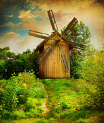 Rural Landscape Pyrography Prints - Beautiful Windmill Print by Boon Mee