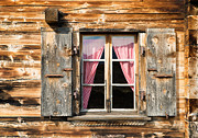 Chalet Posters - Beautiful window wooden facade of a Chalet in Switzerland Poster by Matthias Hauser