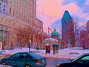 St.catherine Street Posters - Beautiful Winter Day Dominion Square Park Place Du Canada Downtown Montreal City Scene C Spandau Poster by Carole Spandau