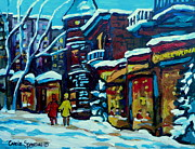 Montreal Streetscenes Painting Framed Prints - Beautiful Winter Evening Framed Print by Carole Spandau