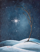 Surreal Landscape Painting Metal Prints - Beautiful Winterland by Shawna Erback Metal Print by Shawna Erback