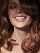 Make-up Posters - Beautiful woman face with full smile Poster by Oleksiy Maksymenko