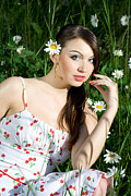 Youthful Prints - Beautiful Woman in Daisies Print by Diana Jo Marmont