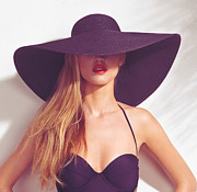 Wide Brim Hat Posters - Beautiful woman in sunhat and swimsuit Poster by Oleksiy Maksymenko
