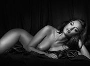 Long Bed Posters - Beautiful Woman Lying Naked in Bed Black and white portrait Poster by Oleksiy Maksymenko